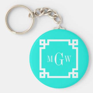 Brt Aqua Wht Greek Key #2 Framed 3 Init Monogram Basic Round Button Keychain