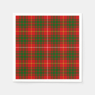 Bruce clan tartan red green plaid paper napkin