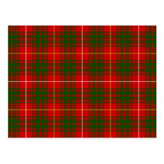 Bruce clan tartan red green plaid postcard