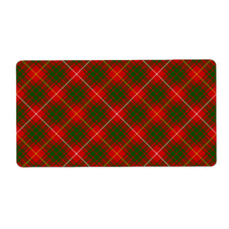 Bruce clan tartan red green plaid shipping label