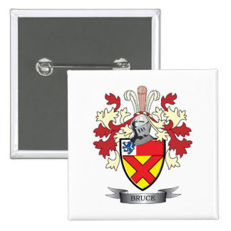 Bruce Family Crest Coat of Arms 2 Inch Square Button