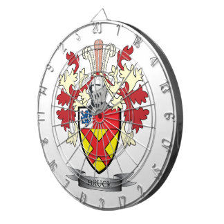 Bruce Family Crest Coat of Arms Dartboard