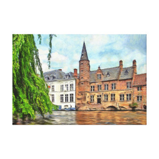 Bruges. Connecting the town and the river. Canvas Print