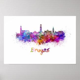 Bruges skyline in watercolor poster