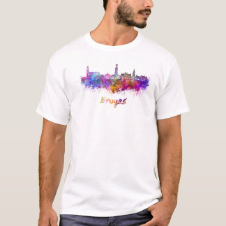 Bruges skyline in watercolor T-Shirt
