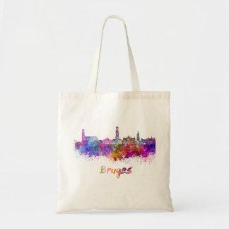 Bruges skyline in watercolor tote bag