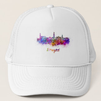 Bruges skyline in watercolor trucker hat
