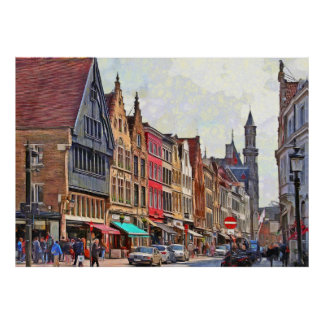 Bruges. Town view. Poster