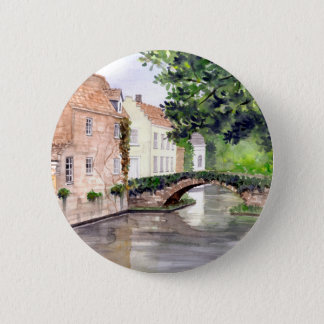 Bruges Watercolor Painting by Farida Greenfield 2 Inch Round Button