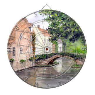 Bruges Watercolor Painting by Farida Greenfield Dartboard