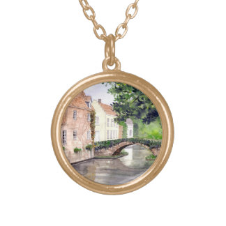 Bruges Watercolor Painting by Farida Greenfield Gold Plated Necklace
