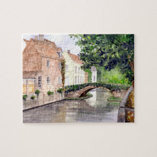 Bruges Watercolor Painting by Farida Greenfield Jigsaw Puzzle