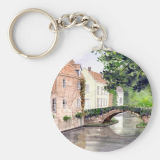 Bruges Watercolor Painting by Farida Greenfield Keychain