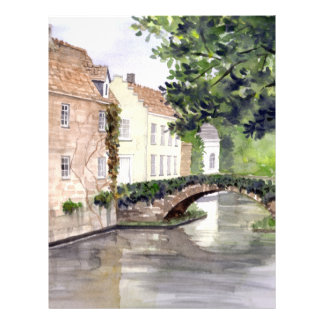 Bruges Watercolor Painting by Farida Greenfield Letterhead