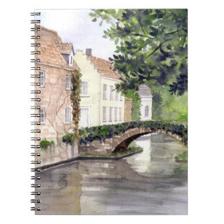 Bruges Watercolor Painting by Farida Greenfield Notebook