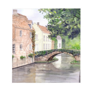 Bruges Watercolor Painting by Farida Greenfield Notepad