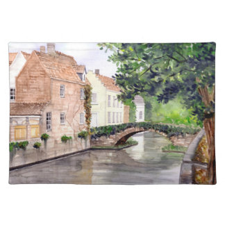 Bruges Watercolor Painting by Farida Greenfield Placemat
