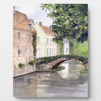 Bruges Watercolor Painting by Farida Greenfield Plaque