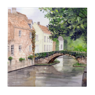 Bruges Watercolor Painting by Farida Greenfield Tile