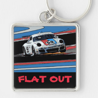 BRUMOS Porsche 911 - FLAT OUT Silver-Colored Square Keychain