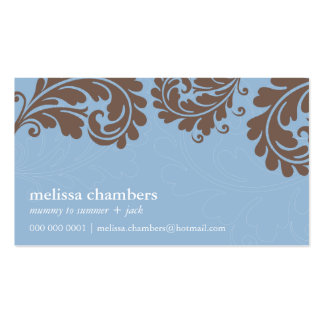 Brun bleu de flourish assez audacieux de CARTE DE Carte De Visite Standard