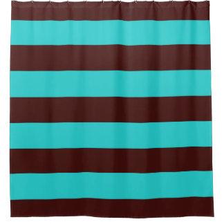 Brun chocolat et aqua barre le rideau en douche
