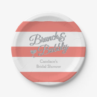 Brunch and Bubbly Bridal Shower 7 Inch Paper Plate