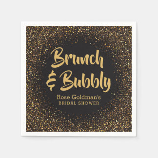 Brunch and Bubbly Bridal Shower Black Gold Glitter Disposable Napkins