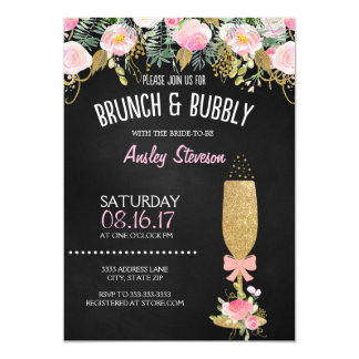 Brunch and bubbly bridal shower invitation glitter