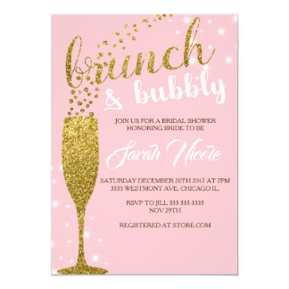 Brunch and bubbly bridal shower invitation, pink card