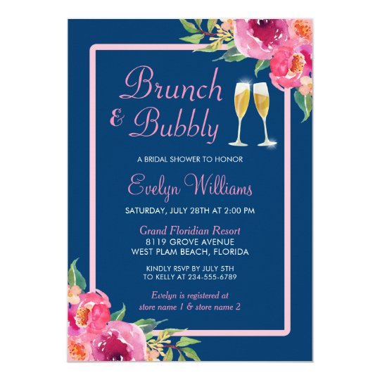 Brunch and Bubbly Bridal Shower Navy Pink Floral Card