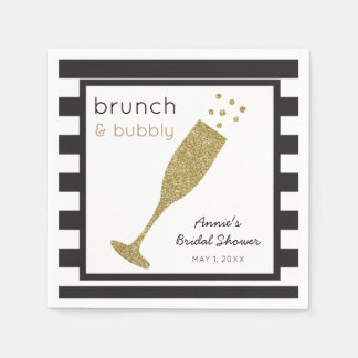 Brunch and Bubbly Faux Gold Glitter & Black Drink Paper Napkins
