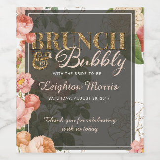 Brunch and Bubbly Vintage Floral White Shower Wine Label