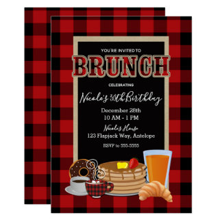 Brunch Breakfast Rustic Red Black Buffalo Plaid Card