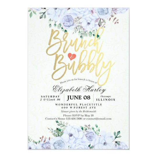 Brunch Bubbly Bridal Shower Chic Watercolor Floral Card