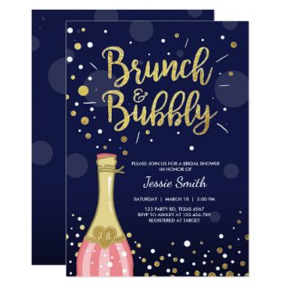 Brunch & Bubbly Bridal shower invitation Navy Gold