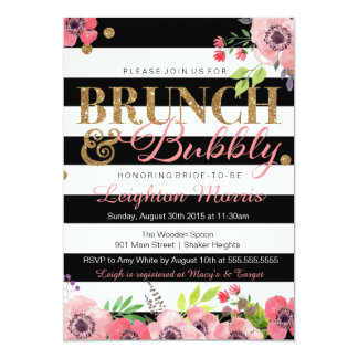Brunch & Bubbly Glitter Black White Bridal Shower Card