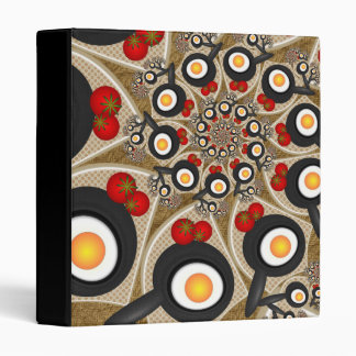 Brunch Fractal Art Funny Food, Tomatoes, Eggs 3 Ring Binders