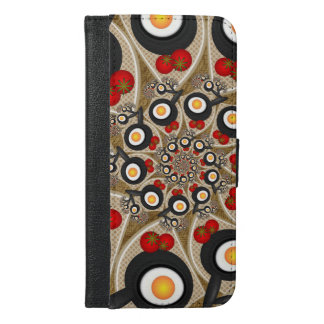 Brunch Fractal Art Funny Food, Tomatoes, Eggs iPhone 6/6s Plus Wallet Case