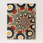 Brunch Fractal Art Funny Food, Tomatoes, Eggs Jigsaw Puzzle