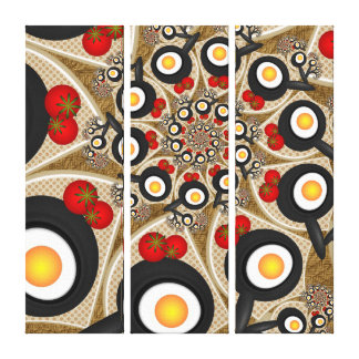 Brunch Fractal Funny Food, Tomatoes, Eggs Triptych Canvas Print