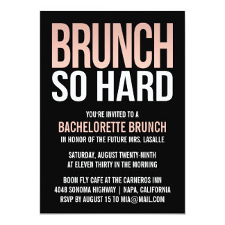 Brunch So Hard Pink Bachelorette Brunch Invitation