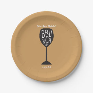 BRUNCH Wine Glass ANY COLOR & EVENT Party Plates