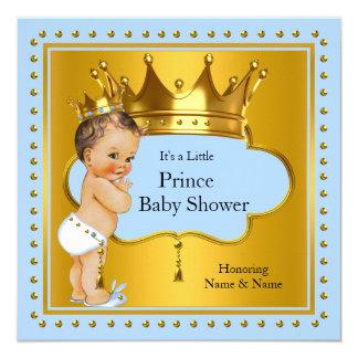Brune bleue de couronne d'or de garçon de prince carton d'invitation  13,33 cm