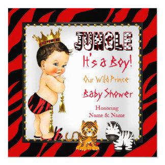 Brune sauvage de rouge de prince baby shower de carton d'invitation  13,33 cm