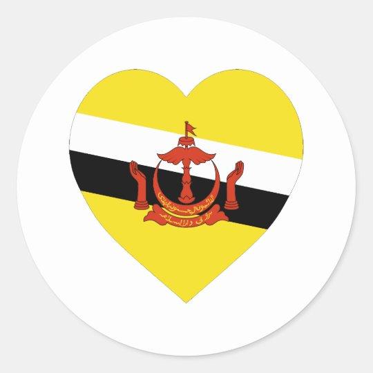 Brunei Flag Heart Classic Round Sticker