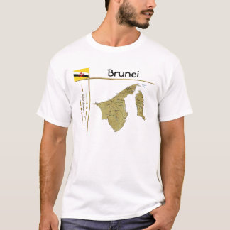 Brunei Map + Flag + Title T-Shirt