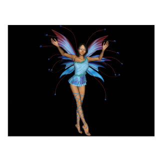 Brunette 3D Pixie - Purple & Blue Postcard