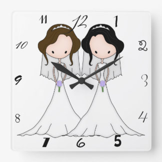 Brunette and Black Haired Brides Lesbian Wedding Square Wall Clock