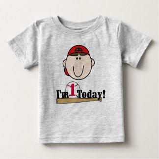 Brunette Baseball First Birthday Baby T-Shirt